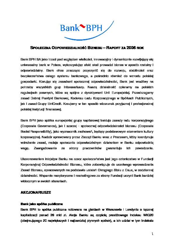 Społeczna Odpowiedzialność Biznesu. Raport za 2006 rok